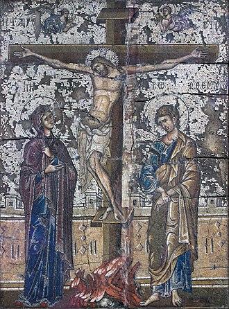 Orthodox cross - Image: 1290 Mosaikikone mit Kreuzigung Christi Bodemuseum anagoria