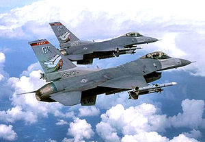 138th Fighter Wing - Oklahoma ANG F-16C Block 42s, AF Ser. No. 89-2138 and AF Ser. No. 89-2145 in the clouds
