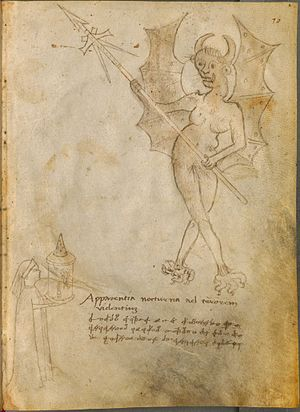 Phantasmagoria - Giovanni Fontana's drawing from circa 1420 of a figure with lantern projecting a winged demon