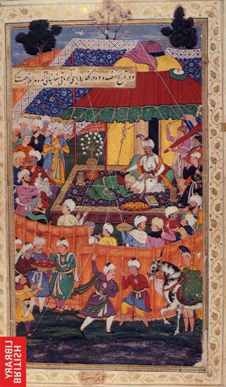 1504-5-Baqi Beg Chaghaniani paying homage to Babur.jpg