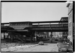 172ND ST., GENERAL VIEW TO THE WEST. - Interborough Rapid Transit Company, Third Avenue Elevated Line, Borough of the Bronx, New York, New York County, NY HAER NY,3-BRONX,13-42.tif
