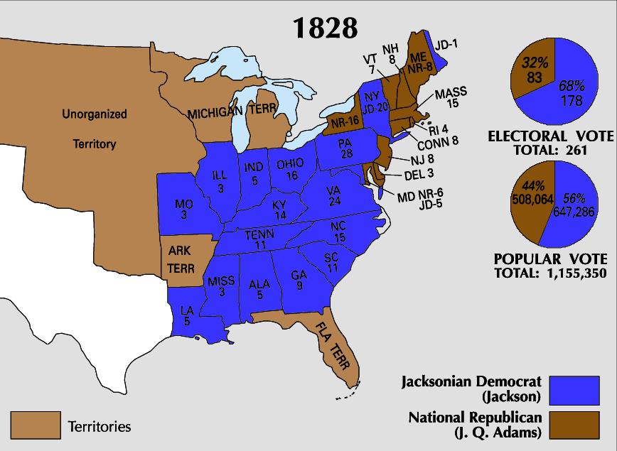 1828 Electoral Map