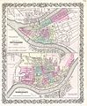 1855 Colton Plan or Map of Pittsburgh, Pennsylvania and Cincinnati, Ohio - Geographicus - PittsburghCincinnati-colton-1855.jpg