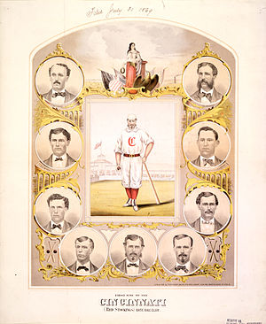 """Cincinnati Red Stockings - An 1869 lithograph of the Red Stockings' """"First Nine""""."""