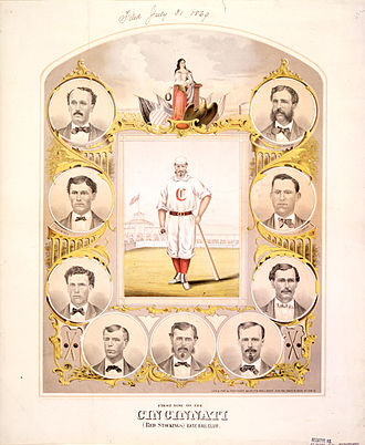 "Cincinnati Red Stockings - An 1869 lithograph of the Red Stockings' ""First Nine""."