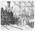 1879-02-08, La Ilustración Española y Americana, Madrid, Inauguración del ferro-carril directo á Ciudad Real, El cardenal arzobispo de Toledo bendice la locomotora «Badajoz».jpg