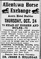 1918 - Allentown Horse Exchange Newspaper Ad Allentown PA.jpg