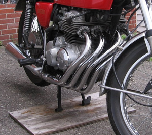 Honda cb125 wikivisually honda cb400f cb400f with distinctive four into one factory original exhaust system fandeluxe Images
