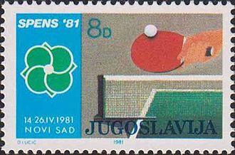 1981 World Table Tennis Championships - Yugoslav stamp dedicated to the 1981 World Table Tennis Championships