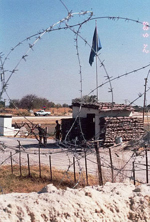 Australian contribution to UNTAG - Front entrance to the Australian base at Ondangwa occupied by 9th Construction Troop on 24 June 1989
