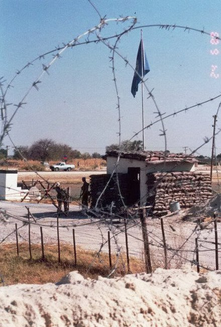 UNTAG checkpoint at Ondangwa, June 1989. 1989 Entrance to the Australian base at Ondangwa.jpg