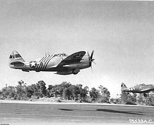 1st Special Operations Wing - P-47 Thunderbolts of the 1st Air Commando Group, 10th Air Force, taking off. Republic P-47D-23-RA Thunderbolt, AAF Ser. No. 42-28152, in foreground exhibits the diagonal fuselage identification stripes that were unique to 1ACG aircraft.