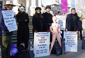 Stuckist demonstrations - Stuckists artists satirise the Chapman brothers at Tate Britain, December 7, 2003