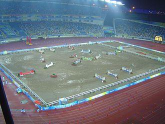 Modern pentathlon at the 2008 Summer Olympics - Image: 2008 Olympic Modern penthalton equestrain+running