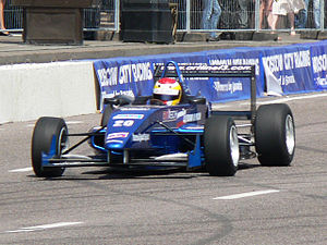 Ivan Samarin - Samarin driving Fotmula 3 ArtTech F24 car at Moscow City Racing 2008 show