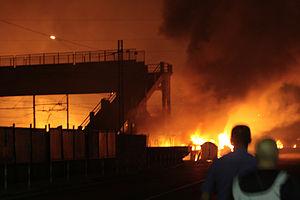 Viareggio train derailment - Image: 2009 Viareggio train explosion 01
