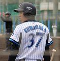 20120304 Masayuki Kuwahara, infielder of the Yokohama BayStars, at BayStars Stadium.JPG