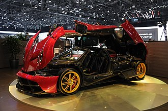 "Pagani Huayra - An ""exploded"" Pagani Huayra on display at the 2013 Geneva Motor Show."