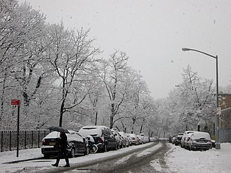 Hudson Heights, Manhattan - Cabrini Boulevard in the snow (December 2013); north of the neighborhood's apartment buildings, as one gets closer to Fort Tryon Park, it begins to feel less urban