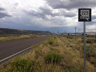 Nevada State Route 225 - First reassurance sign along southbound SR 225 in Owyhee