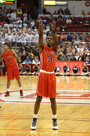 2015–16 Nebraska Cornhuskers men's basketball team - Glynn Watson at the line in the 2015 IHSA 3A championship game victory