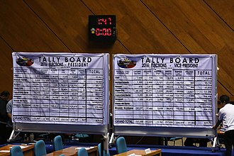 Tally (voting) - A tally board is used for elections in the Philippines