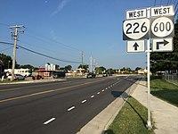 2017-07-13 07 47 12 View west along Virginia State Route 226 (Cox Road) at Lee Boulevard (Virginia State Secondary Route 1301) just west of Petersburg in Dinwiddie County, Virginia.jpg