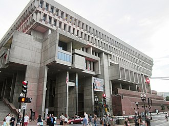 Boston City Hall - City Hall, looking up from Dock Square and Congress Street, 2017