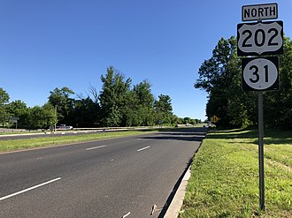East Amwell Township, New Jersey - US 202 and Route 31 northbound in East Amwell