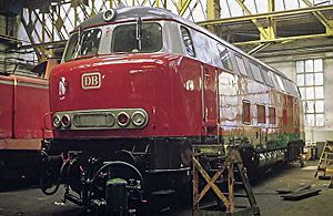 Railway workshop - German V160 locomotive in the Ausbesserungswerk Bremen, 1984