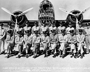 911th Air Refueling Squadron - Squadron members and a B-18 Bolo of the 21st Reconnaissance Squadron at Miami Municipal Airport, Florida, 1941
