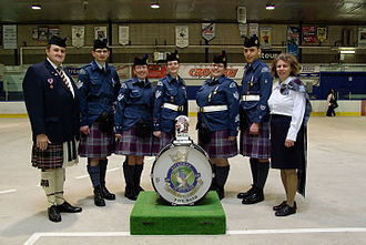 Royal Canadian Air Cadets - The 226th Pipeband at the 2008 annual review at the Colisée de Trois-Rivières in Quebec in May 2008.
