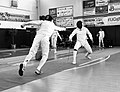 2nd Leonidas Pirgos Fencing Tournament. The fencer Dimitrios Makris performs a flèche and scores a touch.jpg