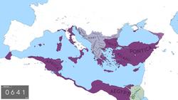 L'Empire byzantin à la fin des guerres avec la Perse sassanide, sous le règne d'Héraclius.