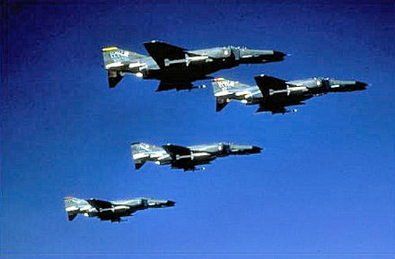 561st Tactical Fighter Squadron - F-4G Phantom II formation, 1982 - George Air Force Base