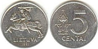 Coins of the Lithuanian litas - Image: 5 centai (1991)