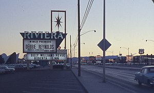 Riviera (hotel and casino) - The old marquee, with Debbie Reynolds headlining, and Billy Williams, along with Roberta Linn on the under-billing