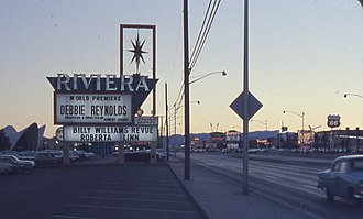 Debbie Reynolds - Marquee listing Reynolds's world premiere at the Riviera Hotel, Las Vegas, December 1962
