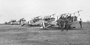 No. 6 Squadron RAAF - Five of No. 6 Squadron's S.E.5 aircraft at Minchinhampton in 1917
