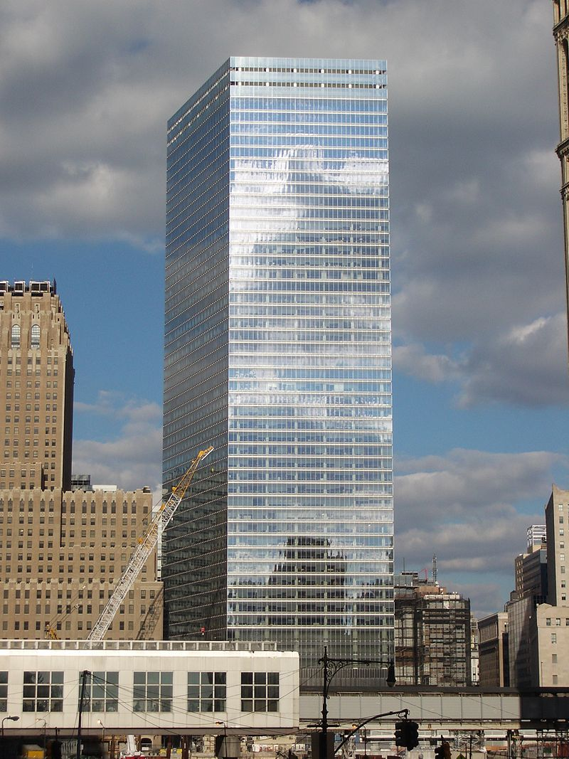 The glass facade of 7 World Trade Center, a skyscraper in New York's World Trade Center