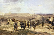 Colour painting depicting a battle scene in which a line of soldiers advance on foot towards a ridge. To their right mounted soldiers move to the rear, while a tank is on the right