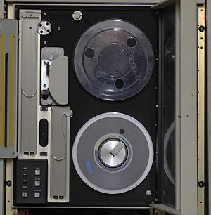 9 track tape - Inside a 9 Track tape drive. The vacuum columns are the two gray rectangles on the left.