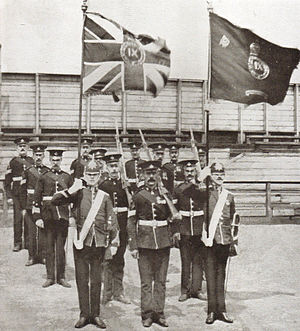 Durham Light Infantry - Colour party of the 9th Battalion Durham Light Infantry after receiving new colours from King Edward VII, 19 June 1909.