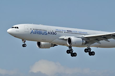 The 1,000 th A330 was delivered on 19 July 2013 AIB A330 F-WWCB 29sep14 LFBO-1.jpg