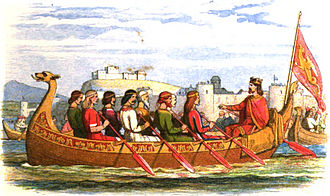 King Edgar's council at Chester - A Victorian representation of Edgar being rowed on the River Dee.