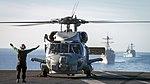 A MH-60R Sea Hawk prepares to take off from USS Carl Vinson's flight deck. (30750294101).jpg
