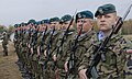 A Polish army honor guard stands in formation with service members from partner nations for a transfer of authority ceremony in Drawsko Pomorskie, Poland, Oct. 27, 2013, during Steadfast Jazz 13 131027-A-IK450-976.jpg