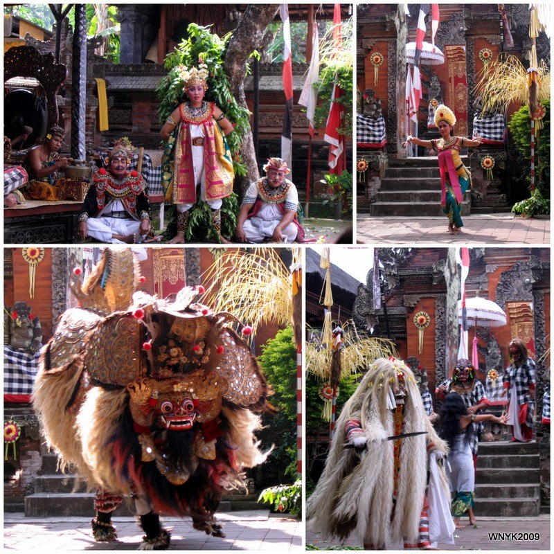 A collage of scenes from Barong dance of Bali Indonesia