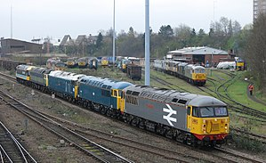 UK Rail Leasing - Train passing UKRL Leicester TMD Base