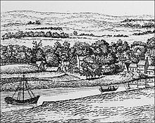 Black and white sketch of the banks of the River Clyde in the eighteenth century showing a hill upon the bank